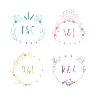 Minimalistische pack bruiloft monogrammen in pastel kleuren