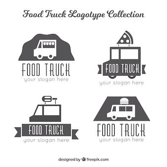 Minimalistische pack van voedsel vrachtwagen logo's