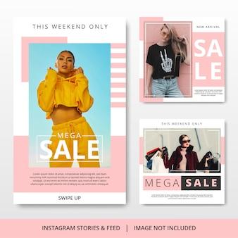 Minimalistische pastelkleur instagram post mode verkoopsjabloon