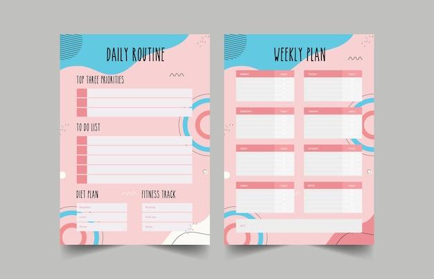Minimalistische planners. dagelijkse, wekelijkse, maandelijkse planner-sjabloon. bullet journal.