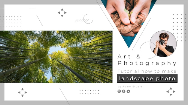 Minimalistische professionele fotografie youtube channel art