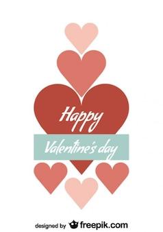 Minimalistische retro valentijnsdag kaart ontwerp met harten en liefde bericht