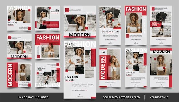 Minimalistische rode sociale media-verhalen en feed-postmode-verkoopsjabloon