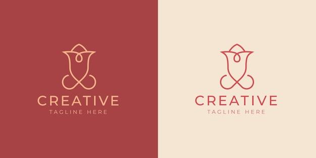 Minimalistische rose logo ontwerpsjabloon vectorillustratie van abstracte rose vintage moderne logo lijn ontwerpsjabloon