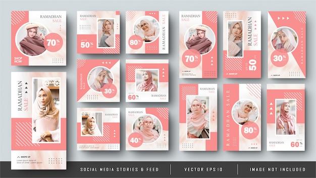 Minimalistische roze sociale media instagram feed post en verhalen ramadhan fashion sale banner