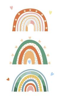 Minimalistische scandinavische regenboog met verschillende decoratieve elementen van doodles lijnen hart