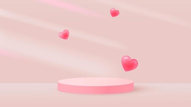 Minimalistische scène met roze cilindrisch podium en vliegende harten.