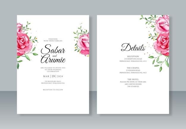 Minimalistische sjabloon voor huwelijksuitnodigingen met bloemenwaterverfschilderij
