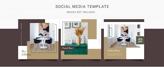 Minimalistische sociale mediasjabloon voor interieur