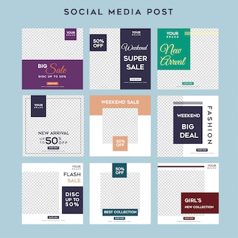 Minimalistische sociale mediaverhalen voeden de sjabloon na de mode-verkoop