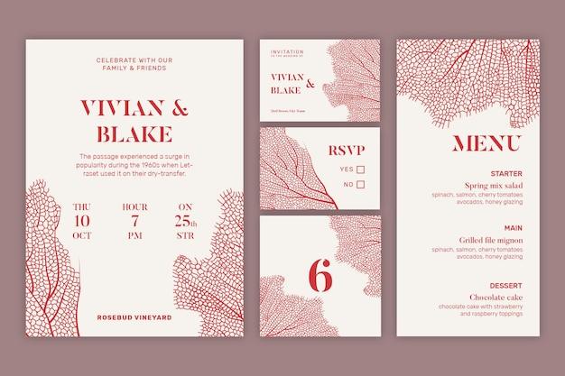 Minimalistische stijl bruiloft briefpapier collectie