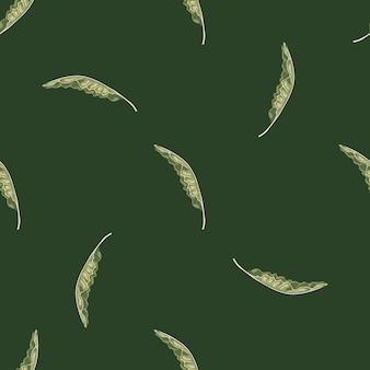 Minimalistische stijl jungle naadloze patroon met doodle bananenbladeren afdrukken. groene olijf achtergrond.