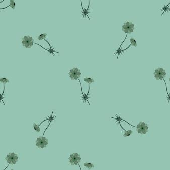 Minimalistische stijl naadloze patroon met doodle anemoon bloemen print. pastelkleurige lichtblauwe achtergrond. voorraad illustratie. vectorontwerp voor textiel, stof, cadeaupapier, behang. Premium Vector