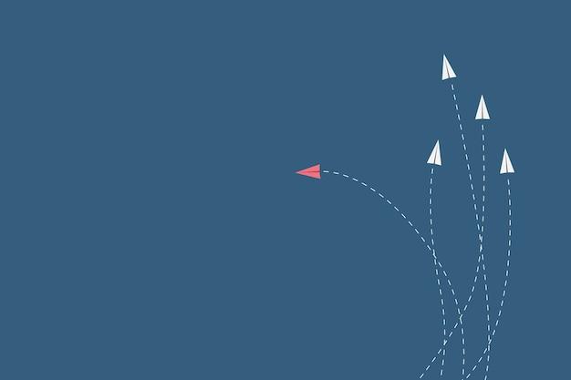Minimalistische stijl rode vliegtuig veranderende richting en witte degenen