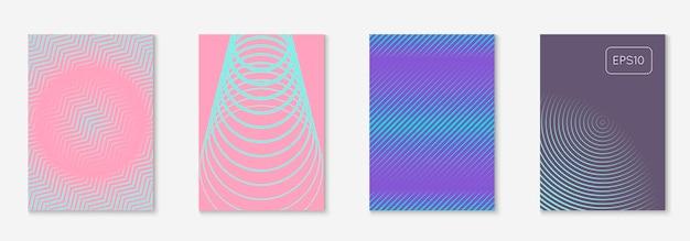 Minimalistische trendy hoes. paars en turkoois. minimalistische flyer, certificaat, plakkaat, boekmodel. minimalistische trendy hoes met lijn geometrische elementen en vormen.