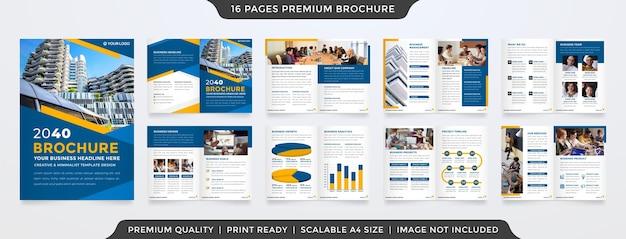 Minimalistische tweevoudige brochure sjabloon premium stijl