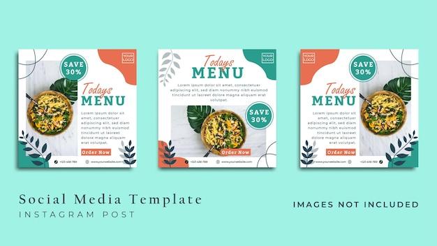 Minimalistische veganistische voedselflyer of banner voor sociale media premium vector