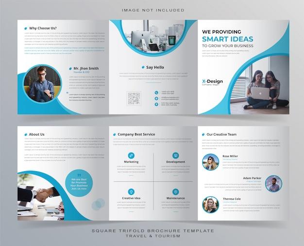 Minimalistische vierkante driebladige brochure