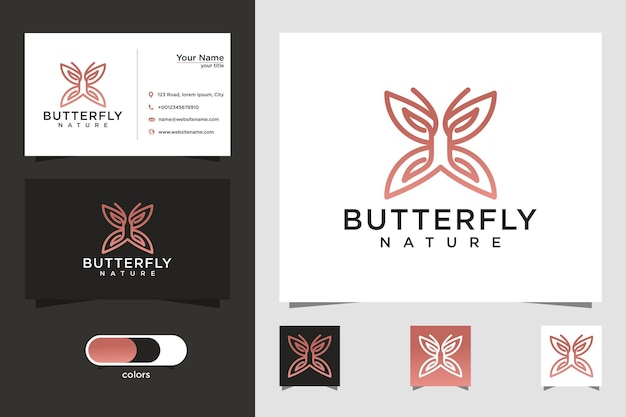 Minimalistische vlinder lijntekeningen stijl logo en visitekaartje ontwerp