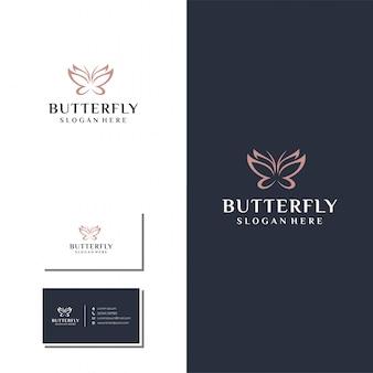 Minimalistische vlinderlijn logo set