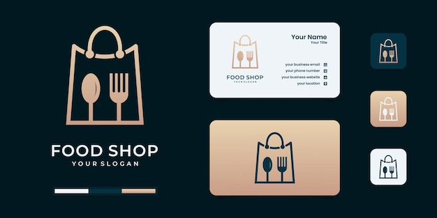 Minimalistische voedsel- en winkelcombinatie logo-ontwerpinspiratie.