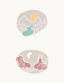 Minimalistische vorm berglijnkunst in zachte kleuren