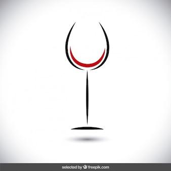 Minimalistische wijnglas logo