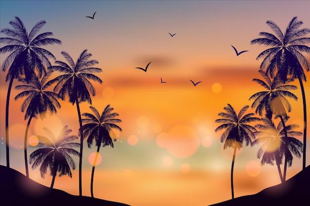 Minimalistische zonsondergang zee esthetische bureaubladachtergrond