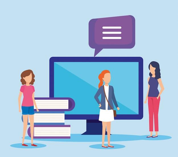 Minimensen met computer en boeken
