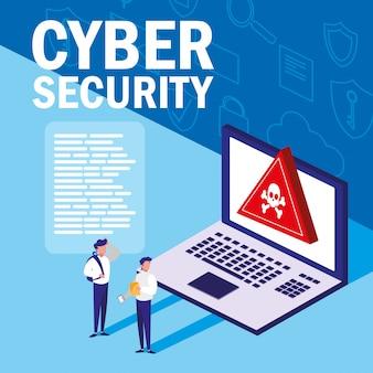 Minimensen met geïnfecteerde laptop en cyberbeveiliging