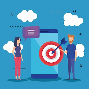 Minimensen met smartphone en doel