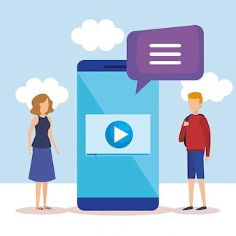 Minimensen met smartphone en toespraakbel