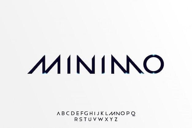 Minimo, een abstract futuristisch alfabetlettertype met technologiethema. modern minimalistisch typografieontwerp