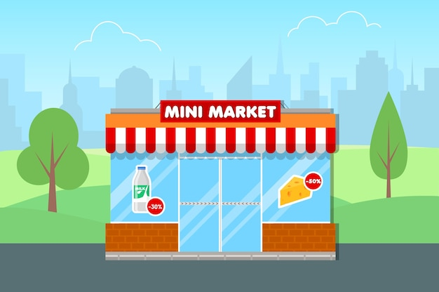 Minisupermarkt in vlakke stijl. gevel van de supermarkt. grote stad op de achtergrond.