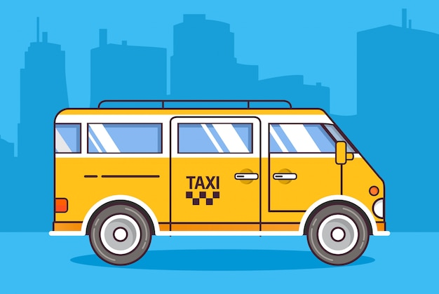 Minivan auto van de stads de gele taxi.