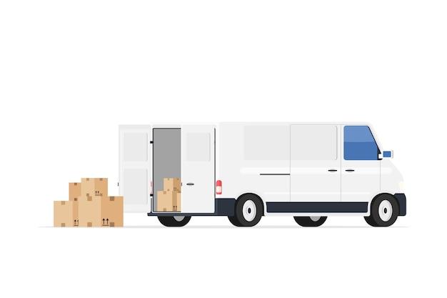 Minivan met kartonnen dozen.