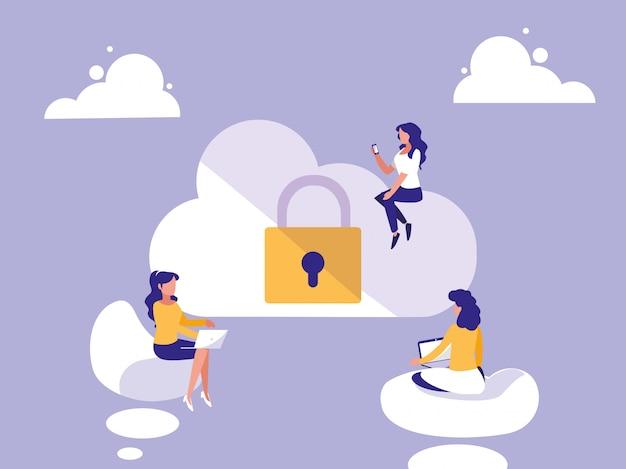 Minivrouwen met cloud computing en hangslot