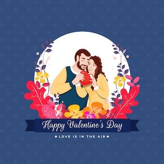 Minnaarpaar die een rood hart met bloemen op blauw houden