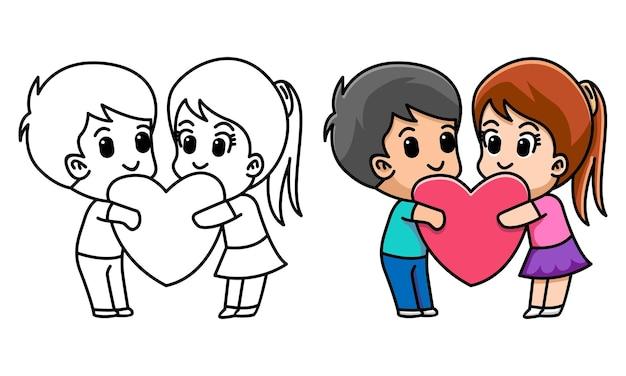 Minnaarpaar knuffelt hart samen kleurplaat voor kinderen