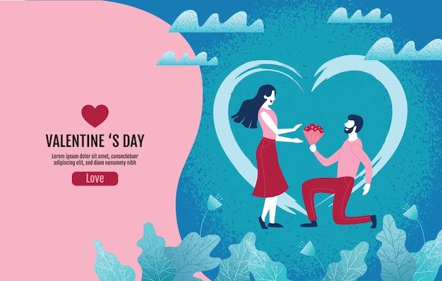 Minnaars die bloemen in een atmosfeer van liefde houden, valentijnsdag, liefde, vectorillustratie.