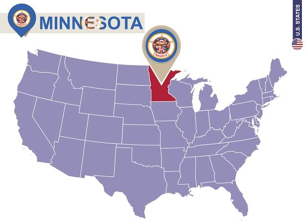 Minnesota staat op de kaart van de v.s. vlag en kaart van minnesota. amerikaanse staten.