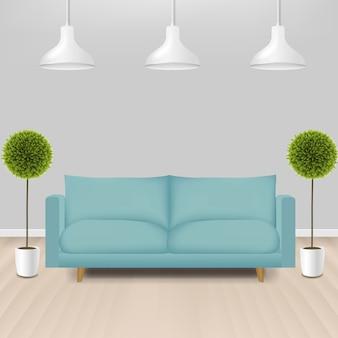 Mint sofa met lampen