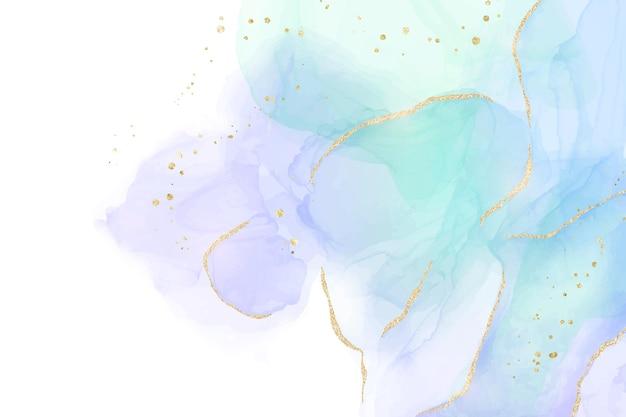 Mint, violet en turquoise vloeibare aquarel achtergrond met gouden glitter penseelstreken en lijnen. elegant vloeibaar marmeren alcoholinkt tekeneffect met gouden vlekken. vectorillustratie voor bruiloft.