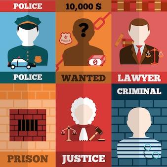 Misdaad en straf avatars illustratie set