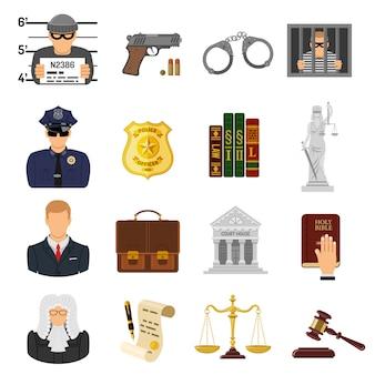 Misdaad en straf plat pictogrammen
