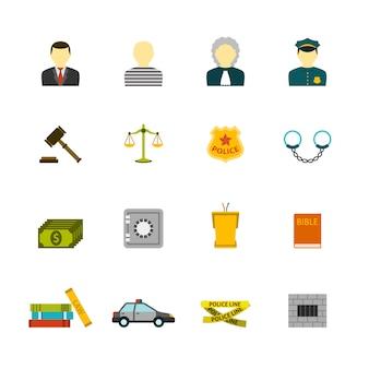 Misdaad en straffen icons set