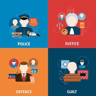 Misdaad en straffen platte pictogrammen samenstelling