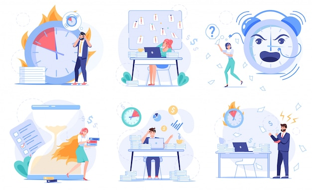 Mislukking of brandende deadline, uitstelgedrag, inefficiënt ineffectief tijdbeheer. luie multitasking-medewerker, zakenmensen die het werkschema van taken niet kunnen organiseren. stressvolle workflowset voor op kantoor