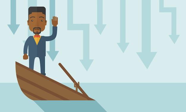 Mislukkings zwarte zakenman die zich op een dalende boot bevinden.