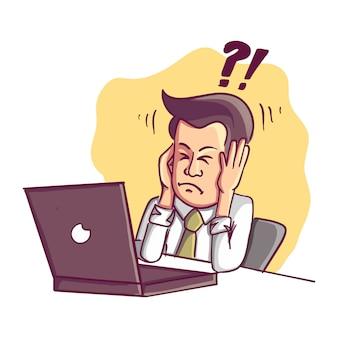 Mislukt en gestrest zakenman is moe om te werken op de computer